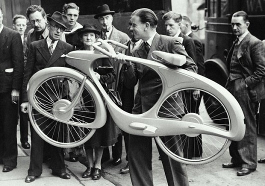 """Ben Bowden and his """"Bicycle of the Future"""", 1946"""